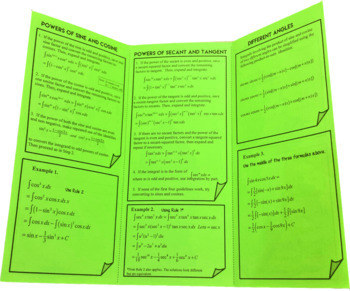 Integration of Trigonometric Functions Guided Noted Trifold  for Calculus 2