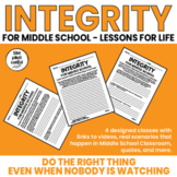Integrity: Lessons for Life For Middle School -Scenarios,