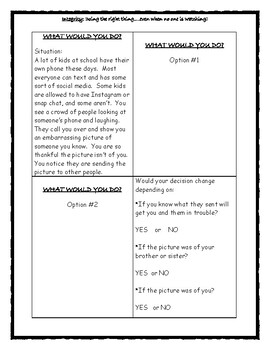 Integrity: What Would You Do? 5th Grade