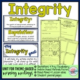Integrity and Character Morning Meeting Quotations Vocabulary #kindnessnation