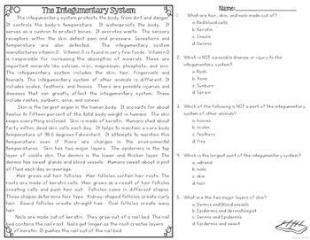Integumentary System Differentiated Nonfiction Reading Passages