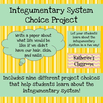 Integumentary System (Skin) Choice Project by Katherine\'s Classroom
