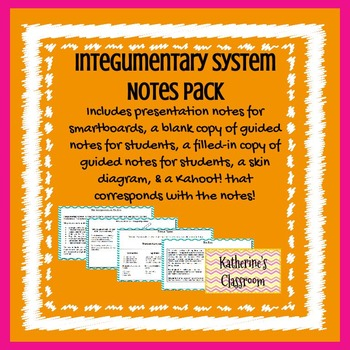 Integumentary System (Skin) Notes PowerPoint Pack & Kahoot!