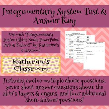 Integumentary System (Skin) Unit Test & Answer Key by Katherine\'s ...