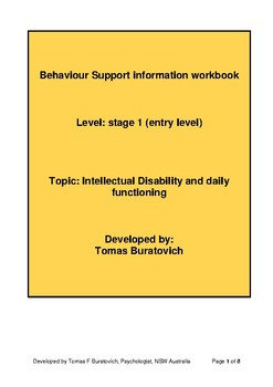Intellectual disability and daily functioning work book Entry level