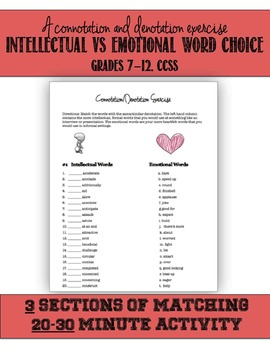 Intellectual vs. Emotional Words, Connotation Denotation Exercise, CCSS