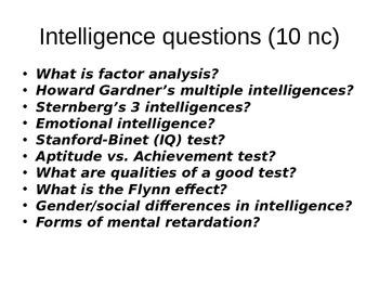 AP Psychology Intelligence PPT