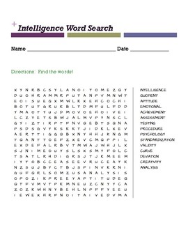 Intelligence Word Search