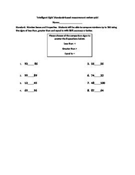 Intelligent Eight Standards-based Comparison to 100 Quiz