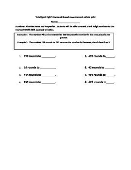 Intelligent Eight Standards-based Rounding 2 and 3 digit numbers Quiz