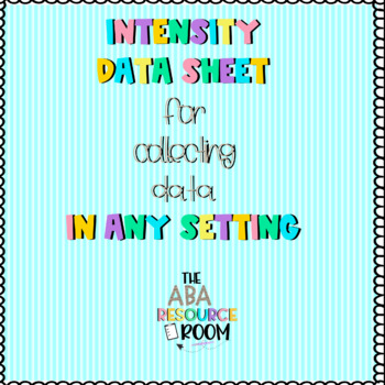 Intensity Data Sheet
