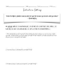 Intention Setting Worksheet By The Grateful Classroom Tpt