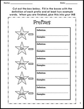 Interacitve Notebook Page- 5 prefixes (un, re, mis, over, sub)