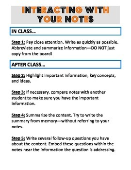 SALE! How to Use Your Notes - Common Core Aligned!