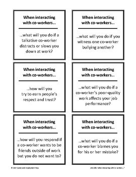 Interacting with Co-Workers Card Set Group Activity