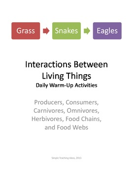 Interactions Among Living Things 12 days of 5 minute warm up questions