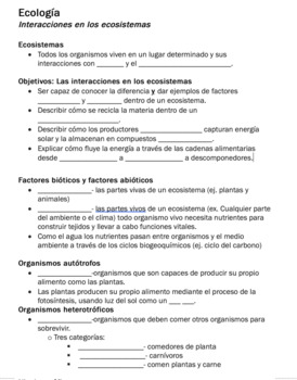 Interactions Within Ecosystems (Spanish)
