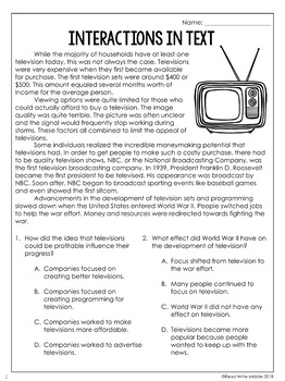 Interactions in Text Reading Comprehension Passages and Questions for Test Prep