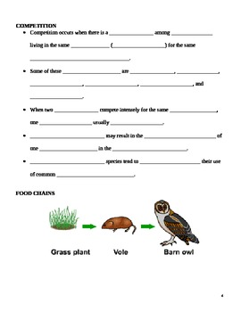 Interactions in the Environment - Ecology Notes Outline Lesson Plan