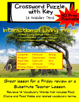 Interactions of Living Things Review Crossword Puzzle and Key