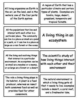 Interactions of Living things Flash Cards, 6-8 Grade Science Fusion