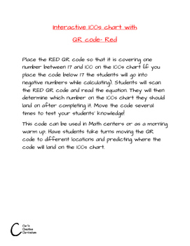 Interactive 100s chart with QR code- Red