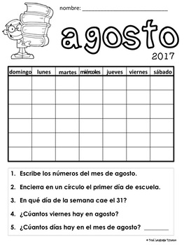 Interactive 12 month calendar in Spanish