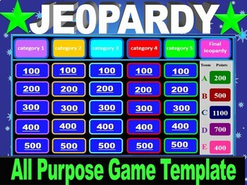 Interactive 2-round all purpose Jeopardy Game template w/ scoreboard & timer