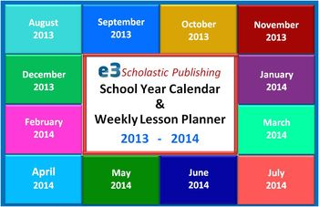 Interactive 2013-2014 Calendar & Weekly Lesson Planner for 5 subjects (Excel)
