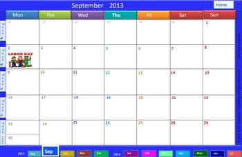 Interactive 2013-2014 Calendar & Weekly Lesson Planner for 5 Subjects (PPT)