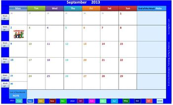 Interactive 2013-2014 Calendar & Weekly Lesson Planner for 5 classes (Word)
