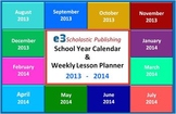 Interactive 2013 - 2014 School-Year Calendar & Weekly Lesson Planner (Excel)
