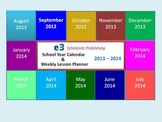 Interactive 2013 - 2014 School-Year Calendar & Weekly Lesson Planner (PPT)