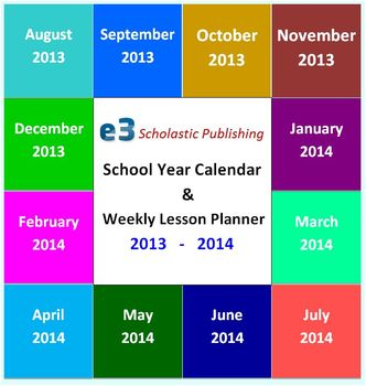 Interactive 2013 - 2014 School-Year Calendar & Weekly Lesson Planner (Word)