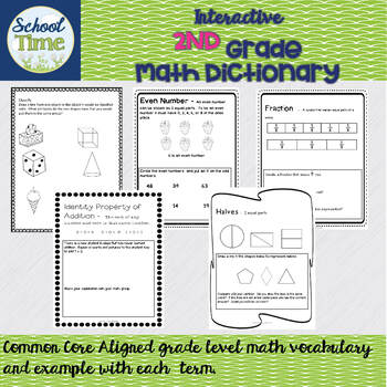 Interactive 2nd Grade Math Dictionary for the Whole Year - CCSS Aligned