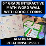 Interactive 6th Grade Math Word Wall Algebraic Relationshi