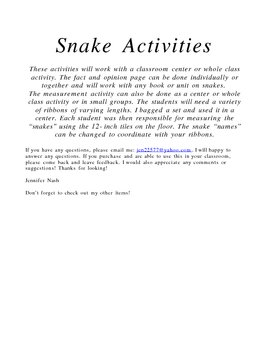 Interactive Activites or Learning Centers about Snakes