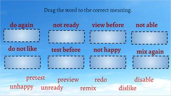 Interactive Activities Prefixes RE, PRE, UN, DIS