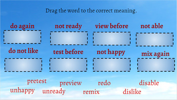 Google Classroom- Word Work:Interactive Activities Prefixes RE, PRE, UN, DIS