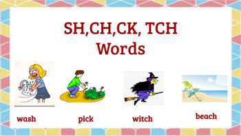Google Classroom- Interactive Activities with Words Ending in CH, SH, TCH, CK