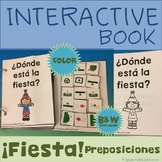 Interactive Adapted Book: Party Prepositions in Spanish - Speech Therapy