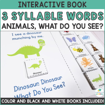 Interactive Adapted Books - Multisyllabic Words - 3 Syllable Animals!