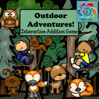Interactive Math Game Addition for Google Slides/Adobe Reader-Outdoor Adventures