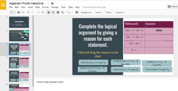 Interactive Algebraic Proofs with Google Slides