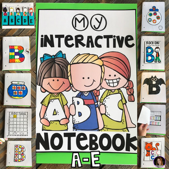 Interactive Uppercase Alphabet Notebook A-E for Kindergarten and Preschool