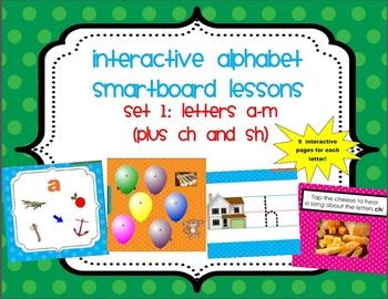 15 SmartBoard Lessons for Alphabet Letters A-M (& ch/sh) - 9 pages each! SET 1