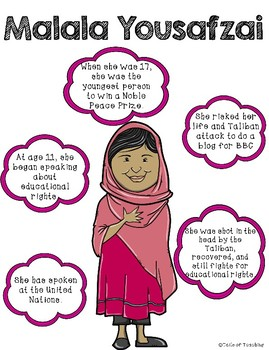 Interactive Anchor Chart + Poster Malala Yousafzai