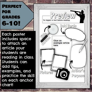 Interactive Anchor Charts: Close Reading Skills for Grades 6-10
