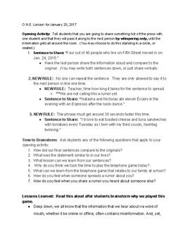 Interactive Anti-Bullying Lesson on Rumors