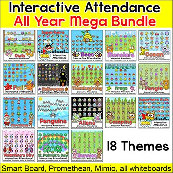Interactive Attendance All Year Mega Bundle for All Whiteb